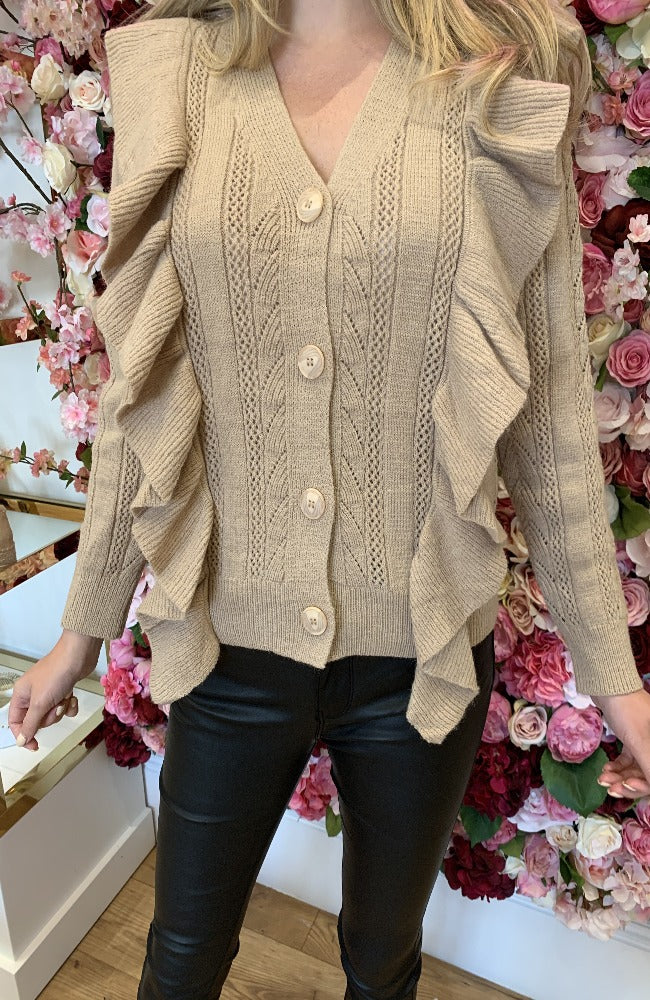 Golden Days Tan Ruffle Knit Cardigan
