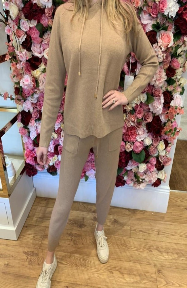 Camel Hooded Lounge Set with Gold Toggle Detail