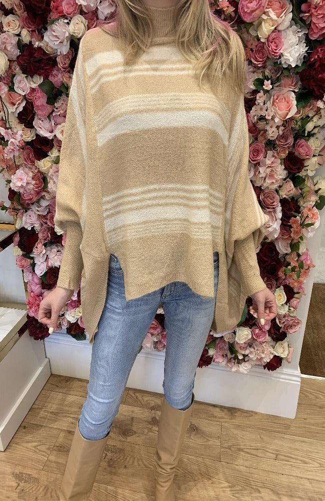Exquiss Camel and Cream Stripe Jumper