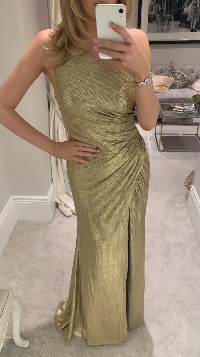 Forever Unique Gold One Shoulder Gown