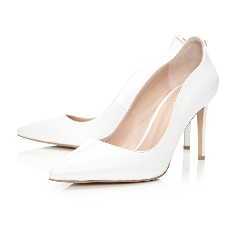 Moda in Pelle Cerina Pearl Leather Pointed Court Shoe