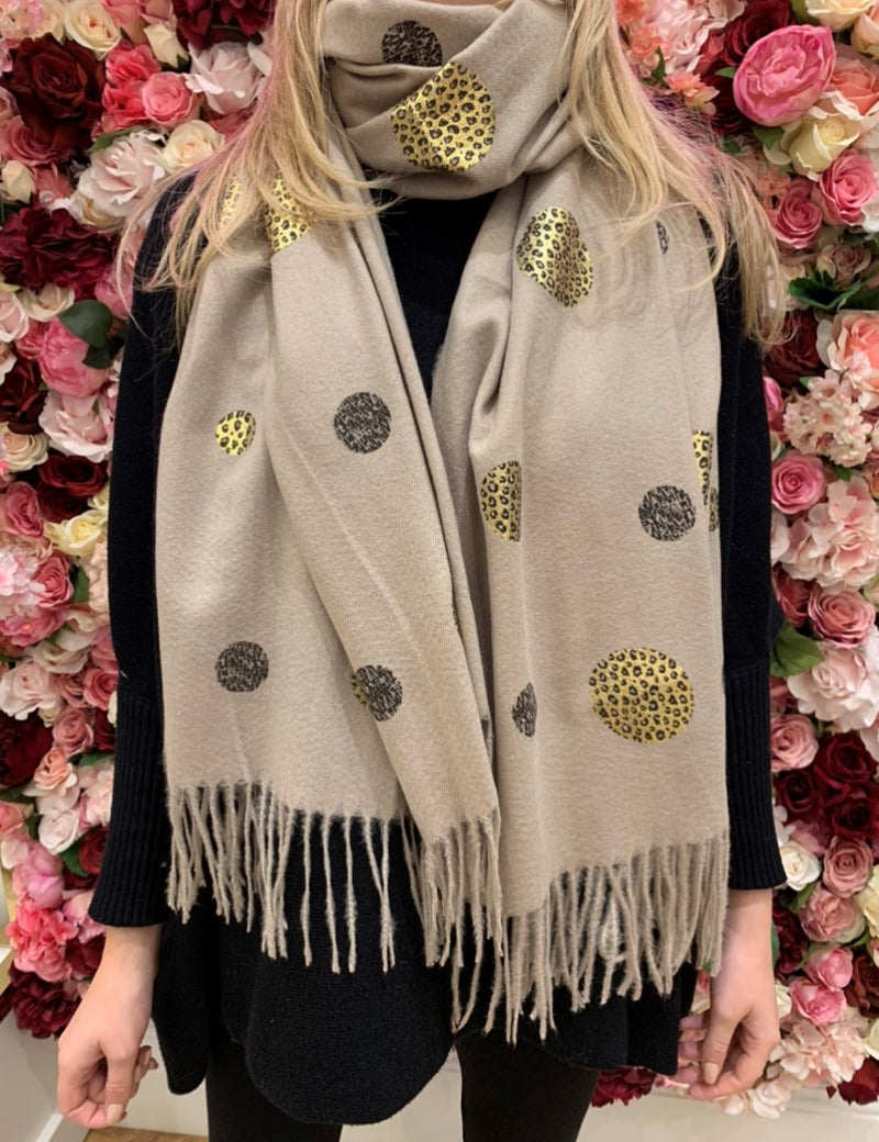 Cream Spotted Animal Print Soft Knit Scarf