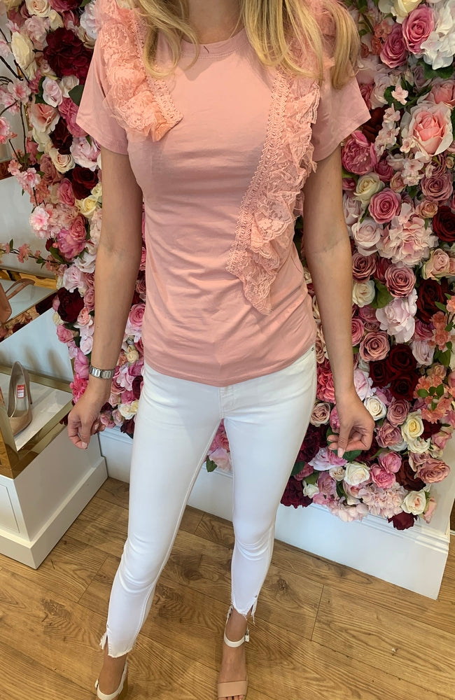 Blush T-Shirt with Fabric Detail
