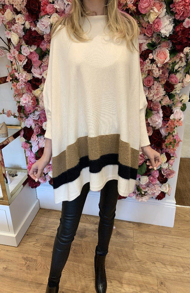 Exquiss Cream Cape Jumper with Tan and Black Trim