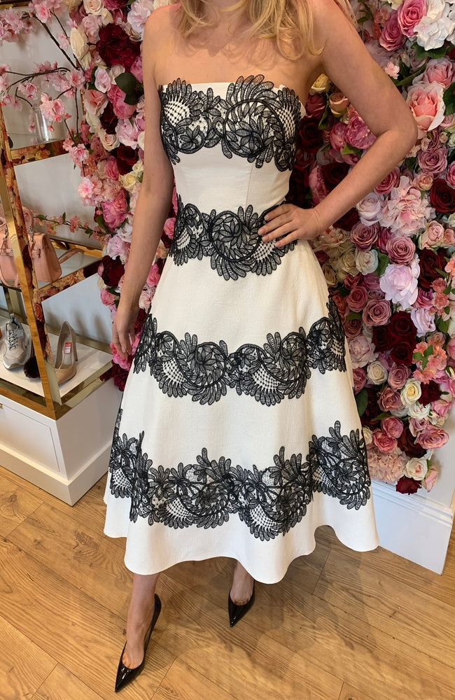 Forever Unique Black and Cream A Line Lace Detail Dress