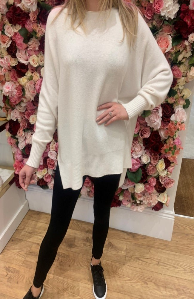Cream Boat Neck Jumper
