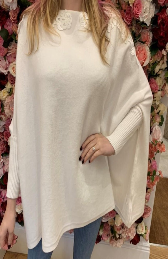 Cream Cape Jumper with Collar Detail