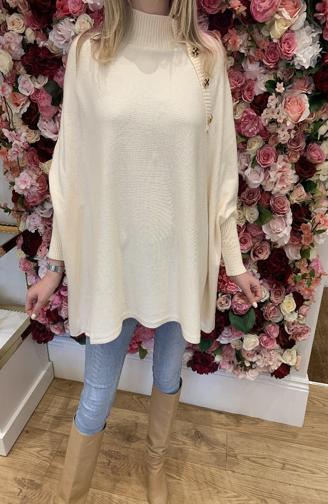 Exquiss Cream Cape Jumper with Button Detail
