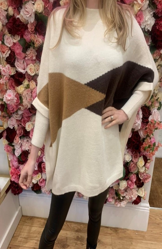 Cream High Neck Cape Jumper with Camel and Brown Detail