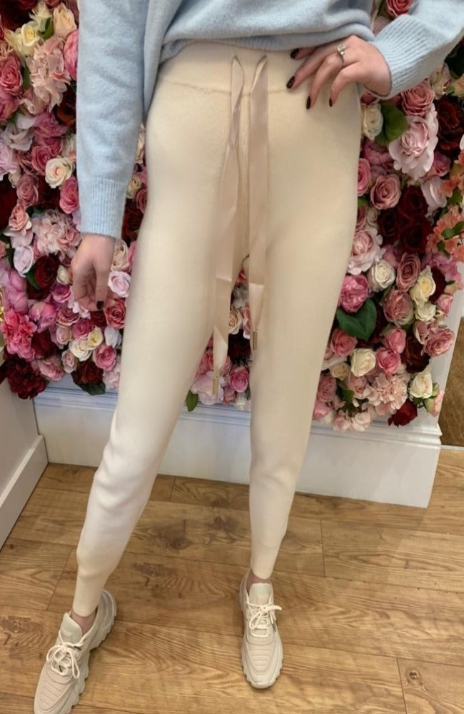 Cream Soft Knit Joggers