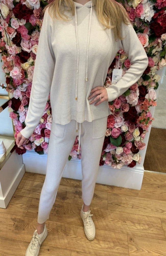 Cream Hooded Lounge Set with Silver Toggle Detail