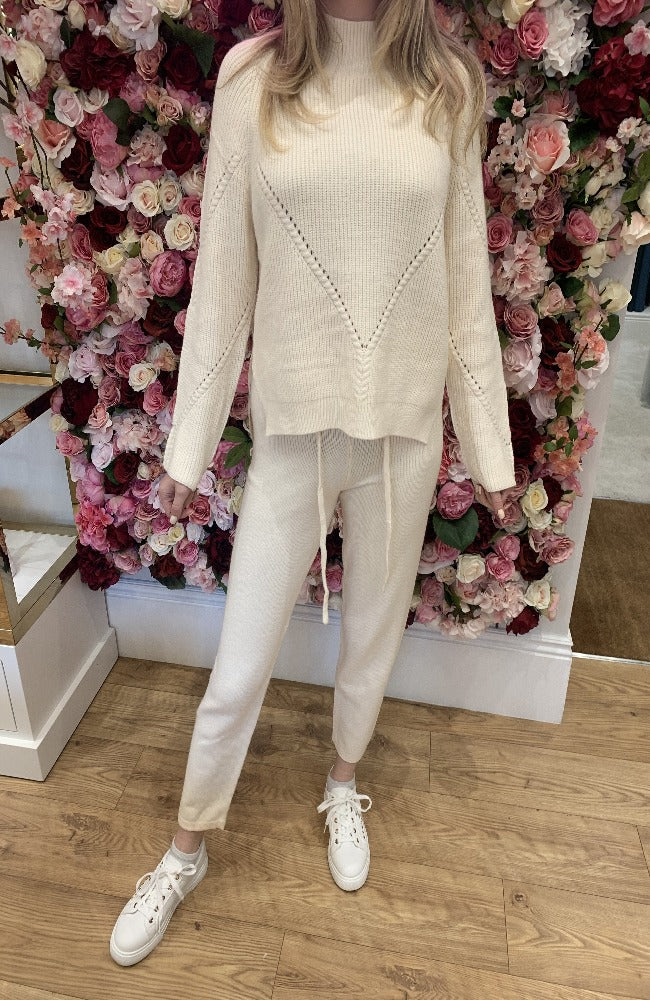 Exquiss Cream Knit Lounge Set