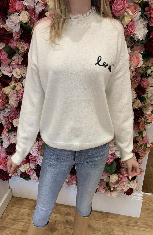 Exquiss Cream Love Jumper with Lace Neck Detail