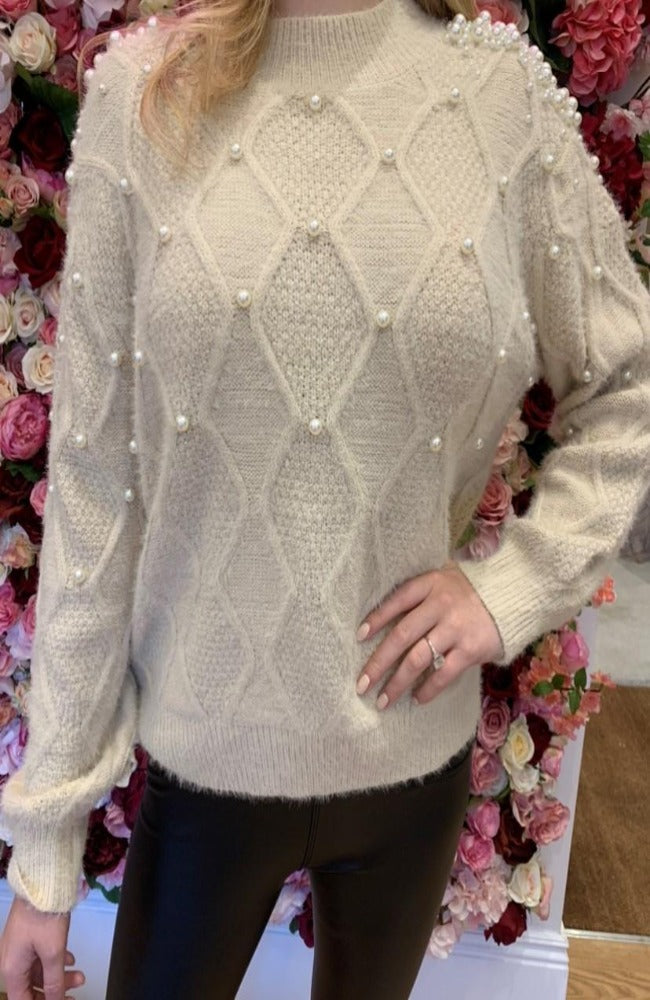 Cream Cable Knit Jumper with Pearl Shoulder Detail