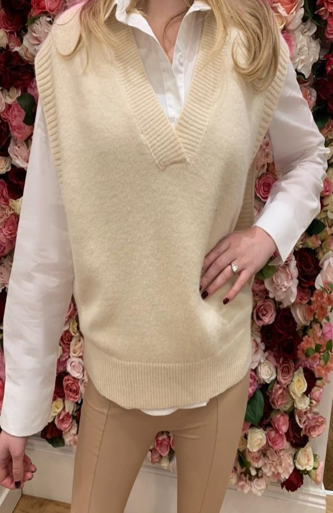 Cream Knit Tank Jumper with Side Split