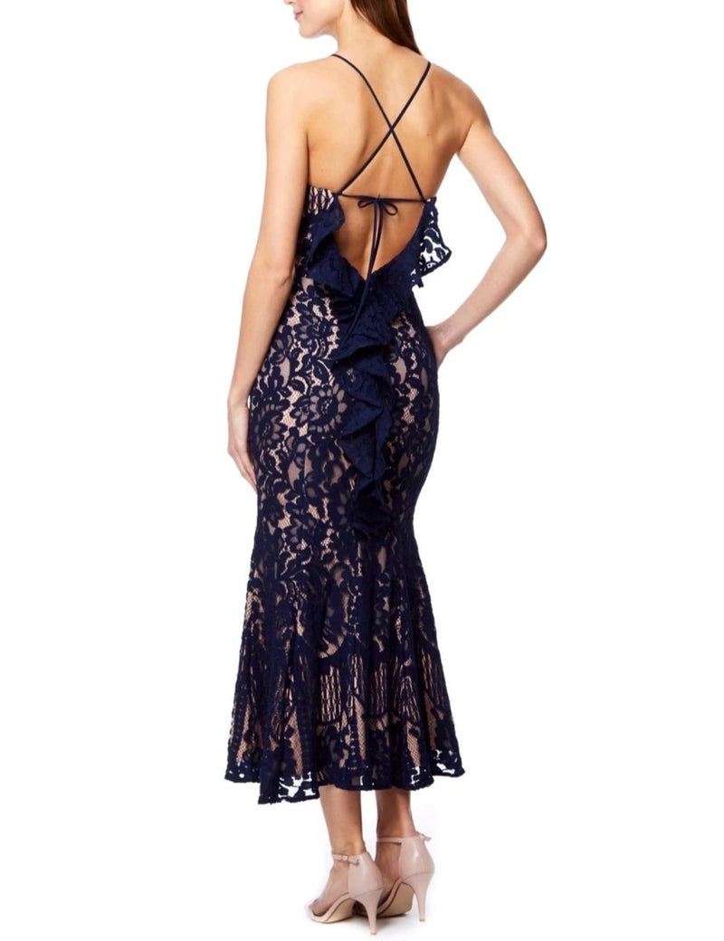 Jarlo Navy Lace Midi Dress with Back Detail