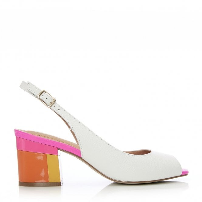 Moda in Pelle Delila White and Pink Low Heel