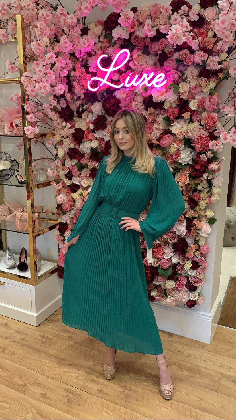 Emerald Pleated Belted Midi Dress