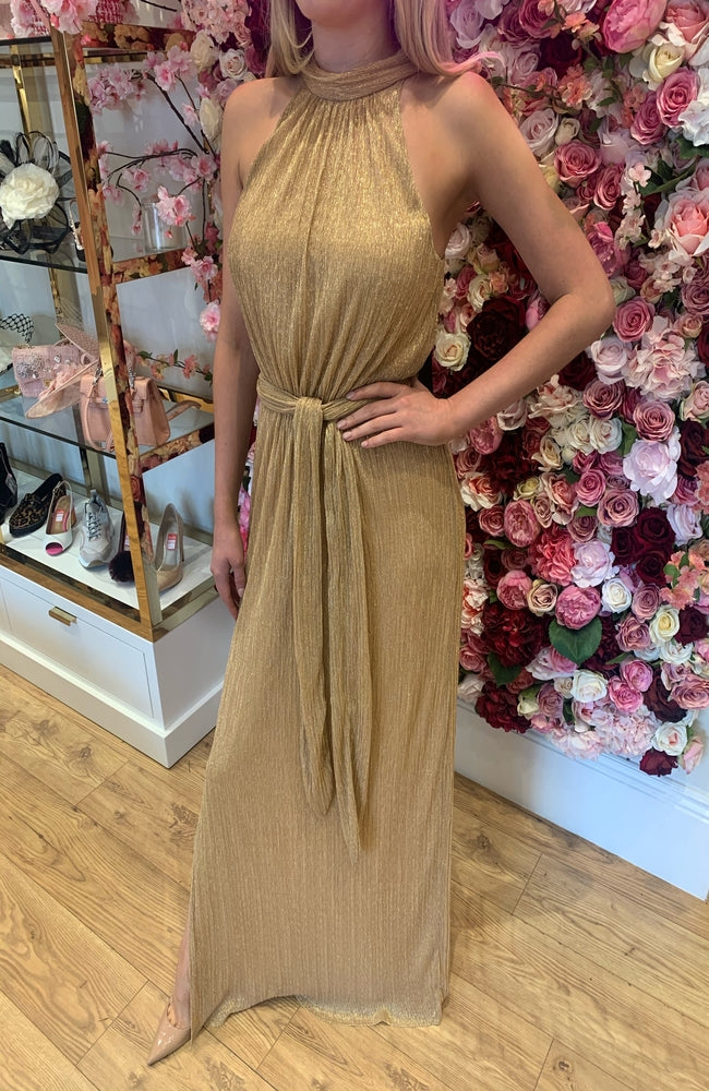Halston Heritage Gold Shimmer Gown