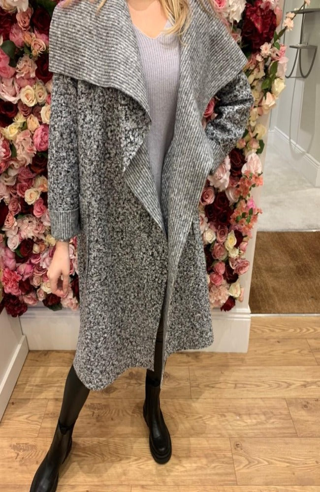 Grey Shawl Collar Coat