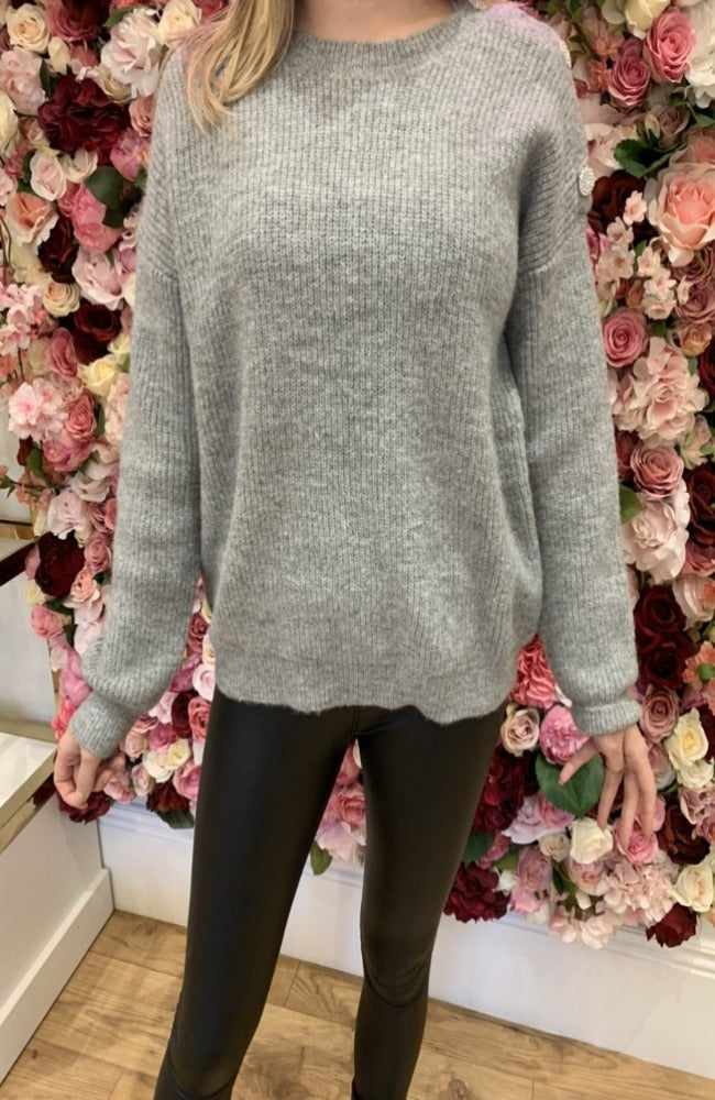 By Clara Grey Knit with Embellished Shoulder Detail