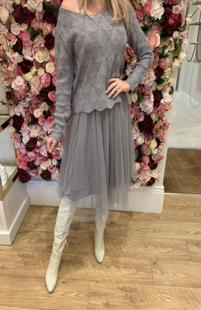 Exquiss Grey Knit and Tulle Skirt Set