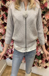 Bluoltre Grey Knit Cardigan with Pom Pom Zip