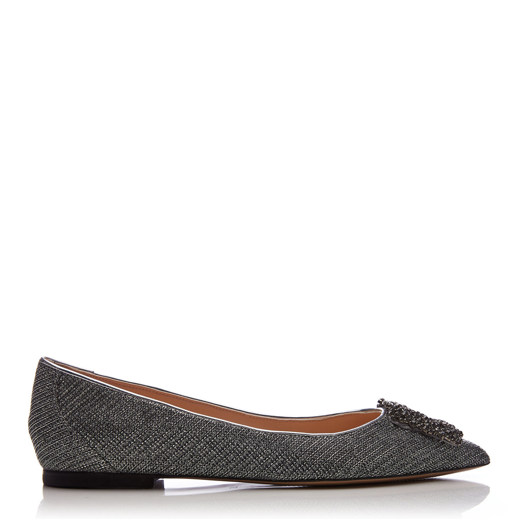 Moda in Pelle Jenette Silver Flat Shoes with Buckle
