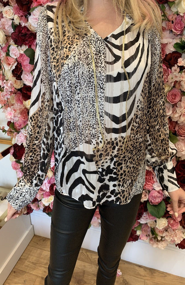 Elli White Animal Print Blouse