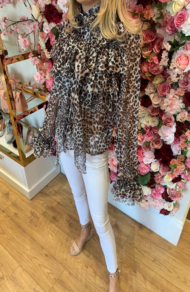 Leopard Print Frill High Neck Blouse