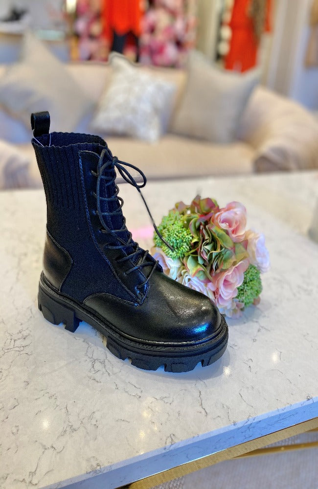 Luxe Biker Boots with Laces