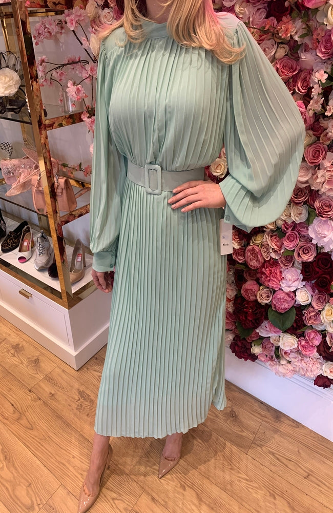 Mint Pleated Belted Midi Dress