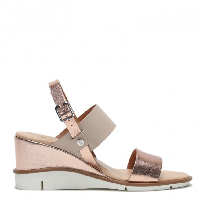 Moda in Pelle Nevva Gold Leather Wedge