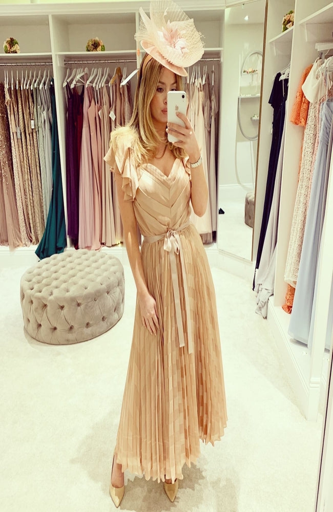 Forever Unique Nude Pleated Off The Shoulder Midi