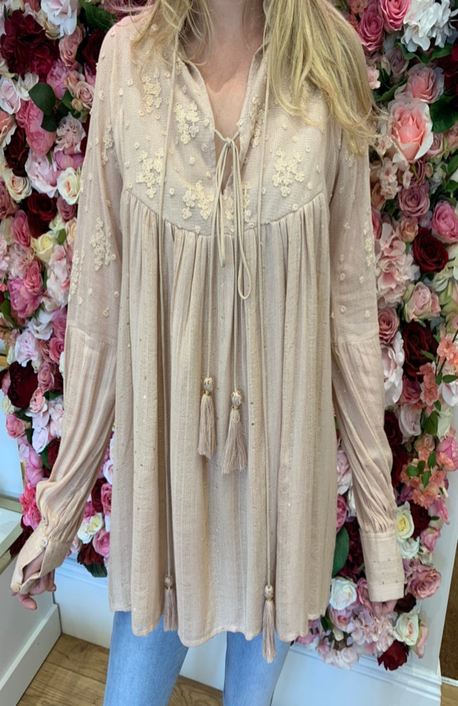 Blue Pearl Nude Smock Blouse