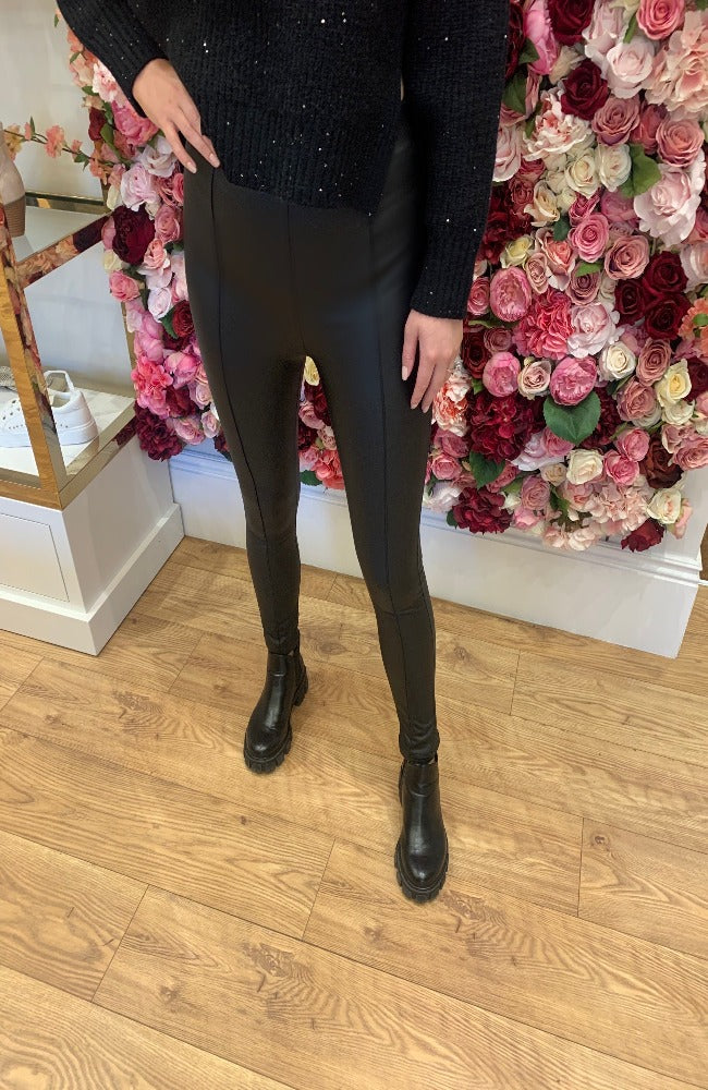 Saison Nands Black Faux Leather Leggings with Pannelling