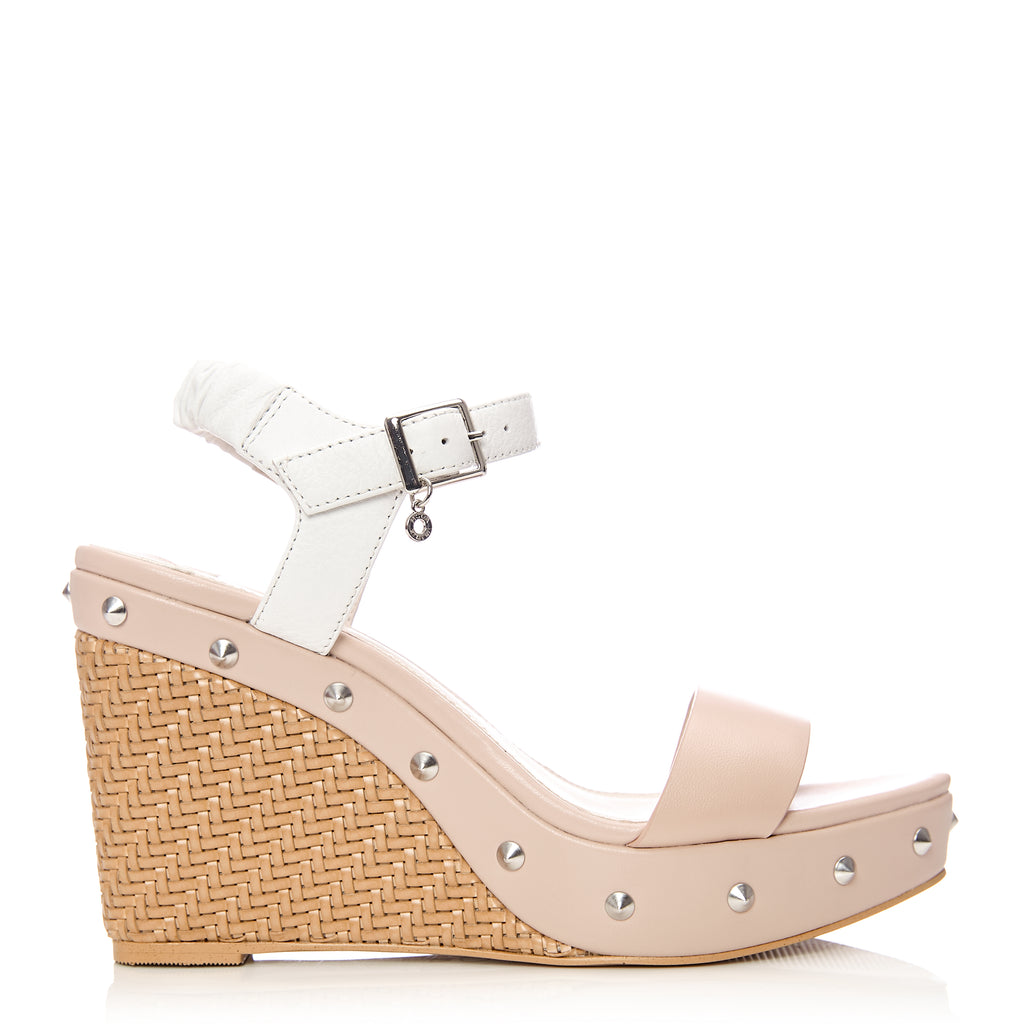 Moda in Pelle Petinia Nude and White Leather Studded Wedge