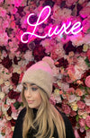 Luxury Wool Blush Pink Bobble Hat with Shimmer