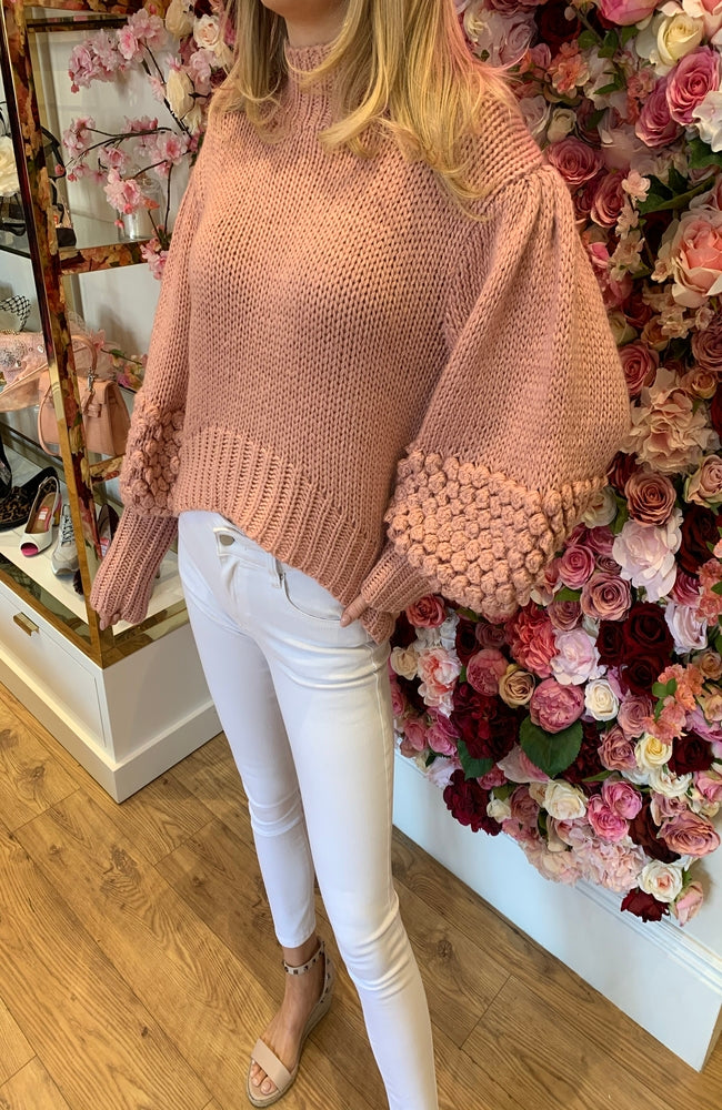 CMEO Blush Knitted Bobble Sleeve Jumper