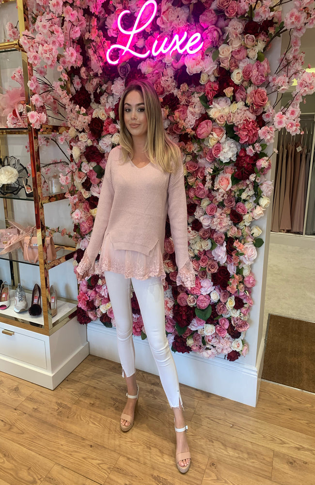 Blush Pink Knit with Lace Detail