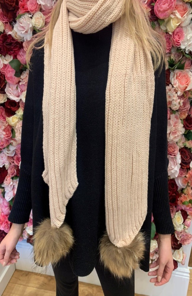 Blush Knit Scarf with Fur Bobbles
