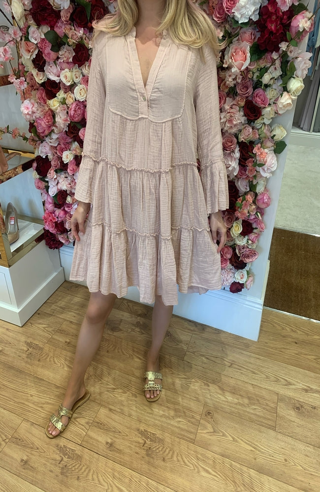 Pale Pink Smock Dress with button detail