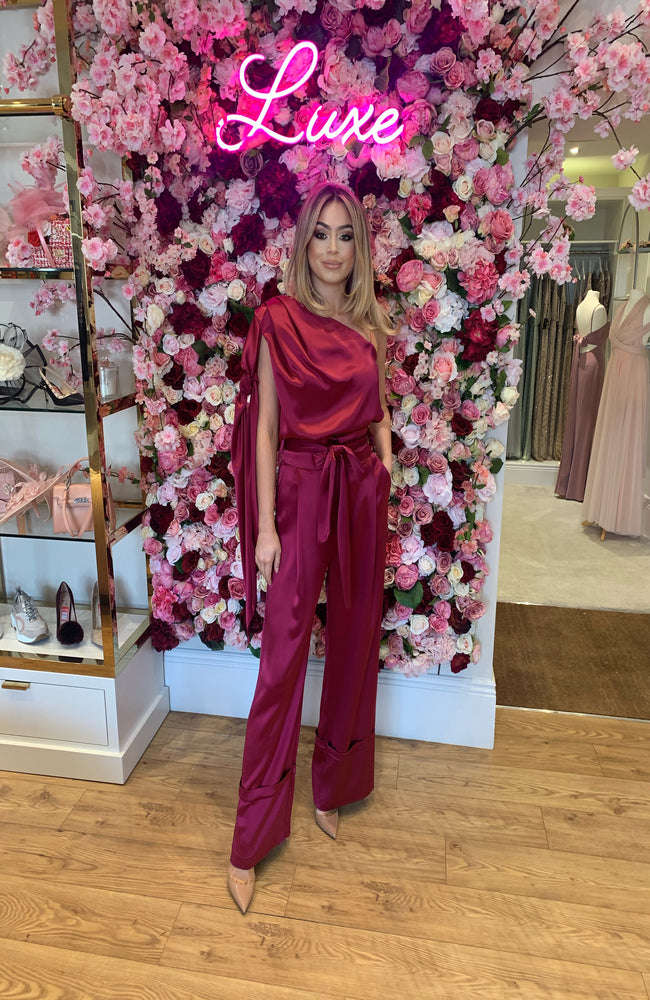 Outline Magenta Silky Two Piece Set