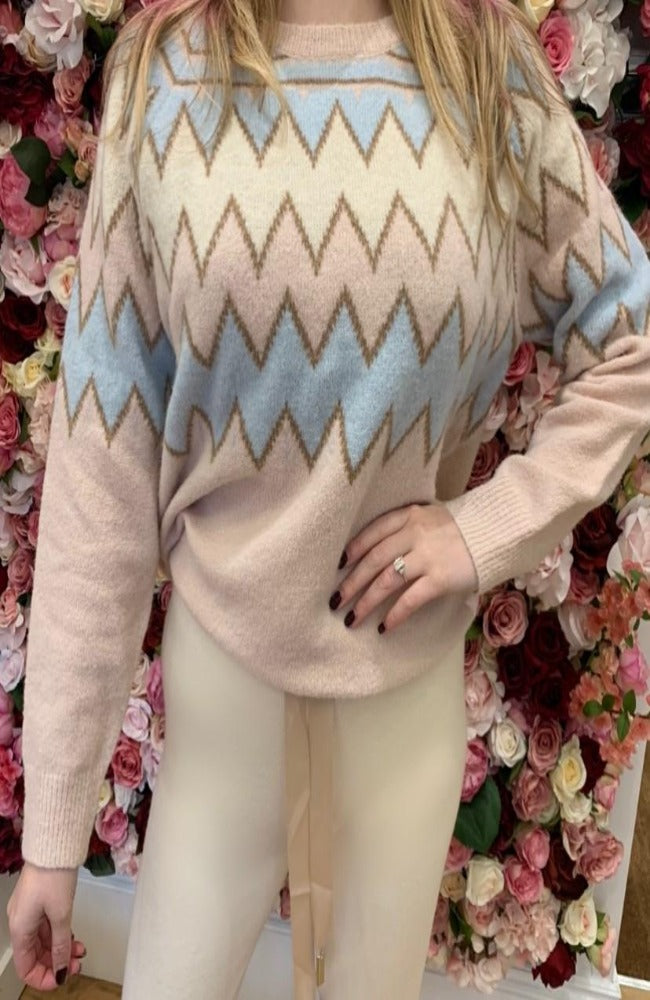 Pink Zag-Zag Knitted Jumper