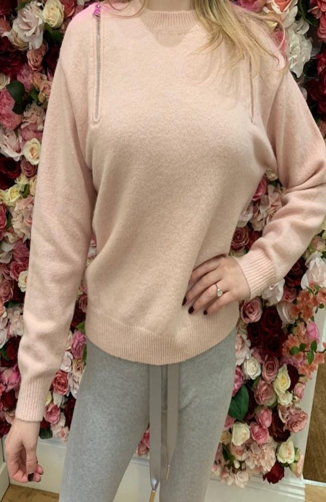 The Zip Down Knit in Baby Pink