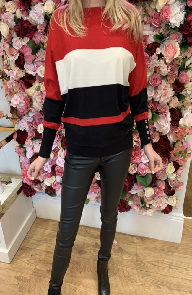 Bloultre Red, Cream and Black Knit