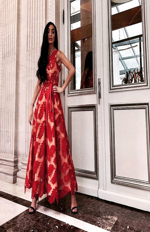 Forever Unique Red Leaf Embroided One Shoulder Gown