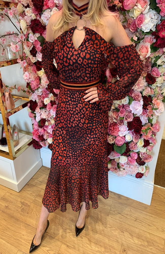 Forever Unique Red and Black Animal Print Midi