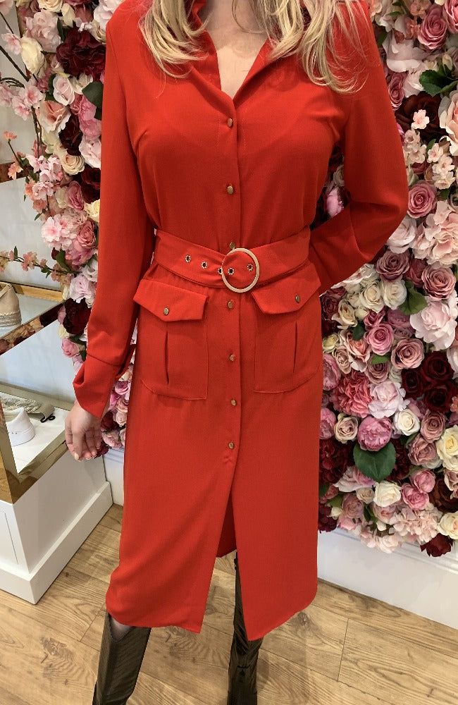 Biscous Project Red Belted Midi Dress