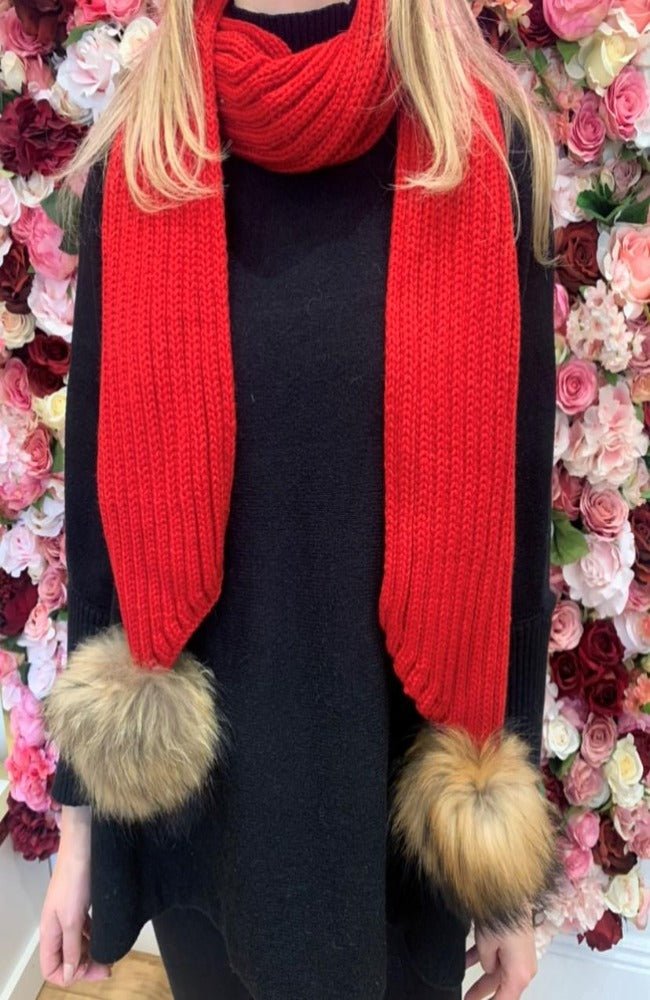 Red Knit Scarf with Fur Bobbles